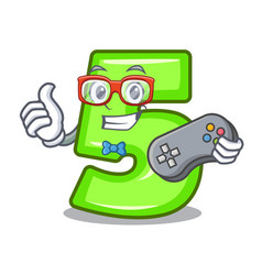 gamer number five isolated on the mascot vector image