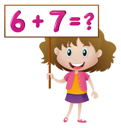 Girl holding board with math problem vector