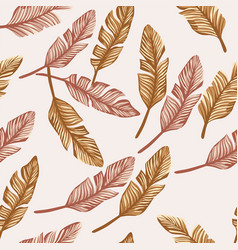 gold banana leaves seamless beige background vector image