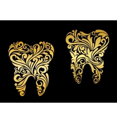 Golden tooth in floral style vector