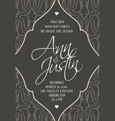 Grey and white wedding modern design invitation vector