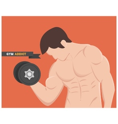 gym addict fitness muscular man vector image
