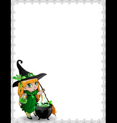 halloween spider web template of cute baby witch vector image
