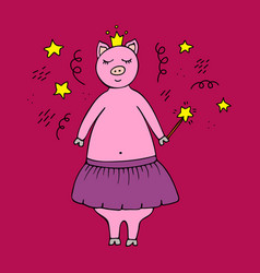 hand-drawn pig fairy in a crown vector image