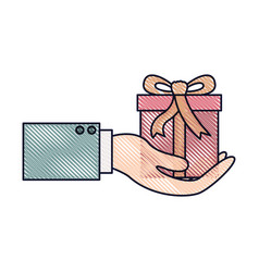 Hand holding a gift box in colored crayon vector