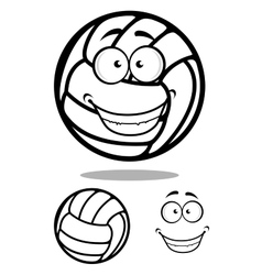 Happy cartoon volleyball ball character vector image