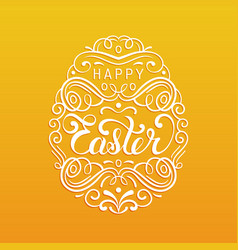happy easter type greeting card in the egg shape vector image