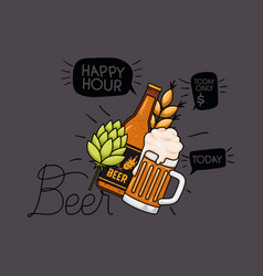 Happy hour beers label with jar and bottle vector