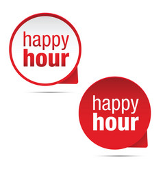 Happy hour sign label red vector
