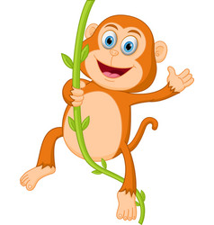 happy monkey swinging vector image