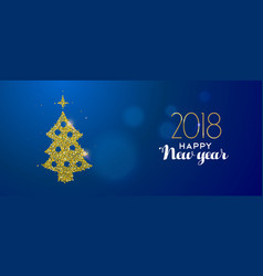 happy new year 2018 gold glitter pine tree card vector image