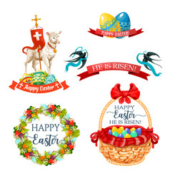 icons and paschal symbols for easter design vector image