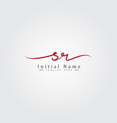 Initial letter sr logo - handwritten signature vector