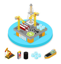 isometric gas and oil industry platform drilling vector image