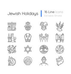 Jewish holidays linear icons set vector
