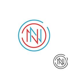 Logo N letter mockup monogram round border two nn vector image