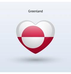 Love greenland symbol heart flag icon vector