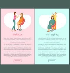 Makeup and hair styling posters set text spa salon vector
