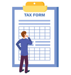 Man thinking how to fill in tax form isolated vector
