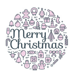 merry christmas for winter holidays greeting card vector image