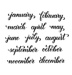 months of the year brush calligraphy vector image