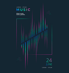 music festival poster with equalizer gradient line vector image