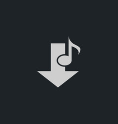 music note download icon simple vector image