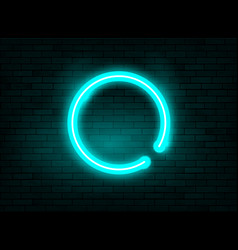 neon frame blue circle background brick wall vector image