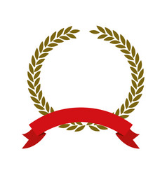 Olive branch golden crown and red ribbon on bottom vector