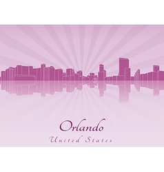 Orlando skyline in purple radiant orchid vector