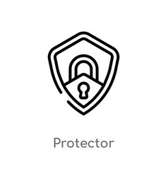 Outline protector icon isolated black simple line vector