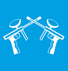 paintball guns icon white vector image