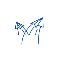 paper airplanes line icon concept paper airplanes vector image