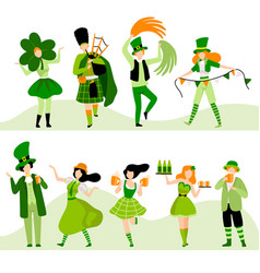 people in green festive costumes celebrating saint vector image
