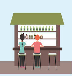 People interior coffee shop or bar restaurant vector