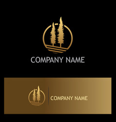 pine tree gold logo vector image