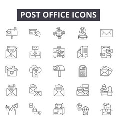 post office line icons signs set outline vector image