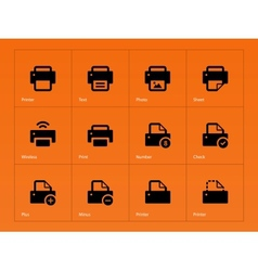 Printer icons on orange background vector image
