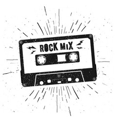 retro grunge style music audio tape cassette vector image