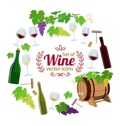 round frame with wine icons vector image