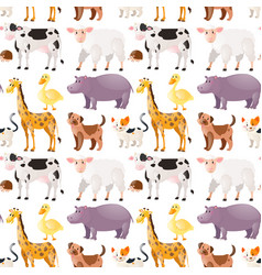 Seamless background with cute animals vector