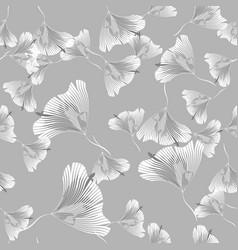 seamless contour floral pattern monochrome floral vector image