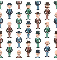 seamless pattern with gentleman vector image