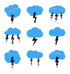 Set of nine clouds with a thunderstorm vector