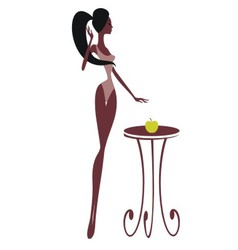 Silhouette of a beautiful girl with an apple vector image