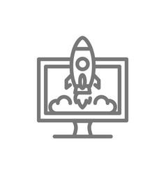 Simple rocket with computer monitor line icon vector