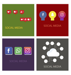 social media icons facebook icon instagram icon vector image