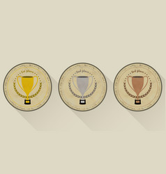 sport trophy icons in retro style for the first vector image