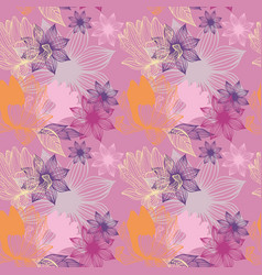 stylized flowers on a pink background seamless vector image