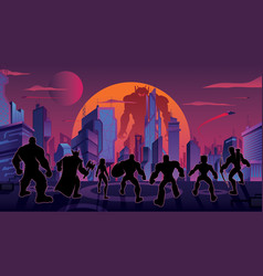super team in futuristic city vector image